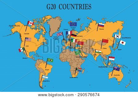 World Map G20 Vector Photo Free Trial Bigstock