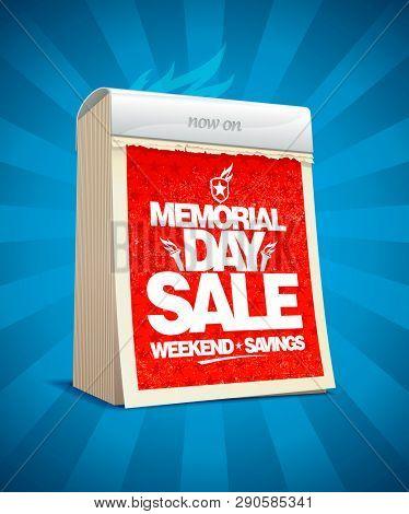 Memorial day sale design in form of tear-off calendar, weekend savings poster, rasterized version