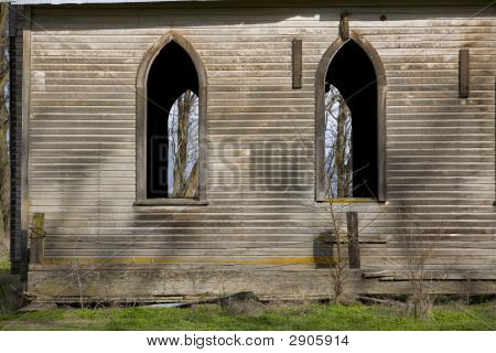 Old Abandoned Church Window Detail