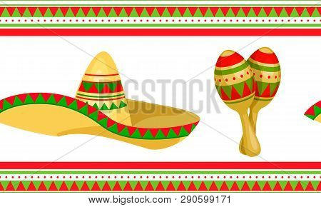 Cinco De Mayo - May 5, Federal Holiday In Mexico. Seamless Pattern Of Mexican Culture Symbols. Vecto