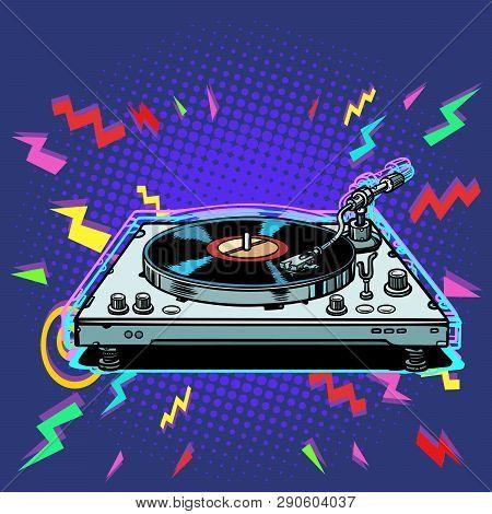 Vinyl Record Player Eighties Style. Pop Art Retro Vector Illustration Vintage Kitsch