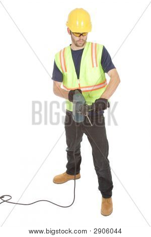 Construction Worker Holding A Rotary Hammer Drill