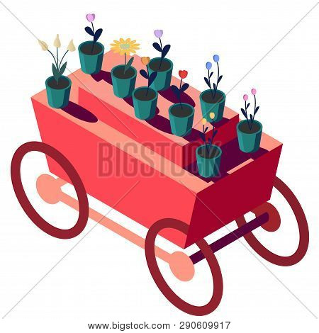 Red truck with flowers in isometry. Potted Home Plants poster