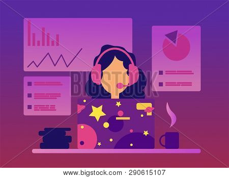 Vector Online Conference Concept In Flat Style. Webinar Online Consultation. Online Performance. Tra