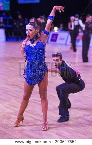 Riga, Latvia-december 16, 2018: Professional Adult Dance Couple Performs Youth Latin-american Progra