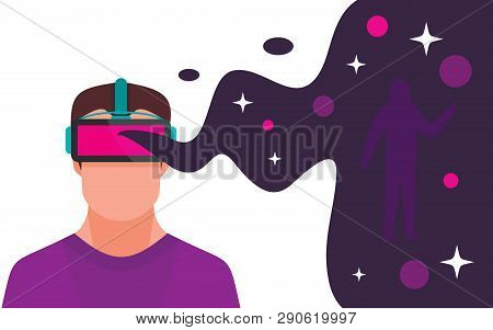 Man With Headset Playing In Virtual Reality Space. Digital Virtual Reality Entertainment Flat Concep