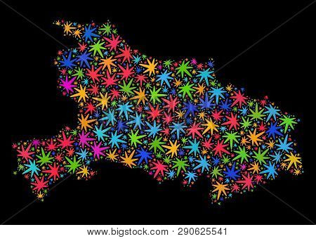 Bright Vector Cannabis Hubei Province Map Mosaic On A Black Background. Concept With Colored Weed Le