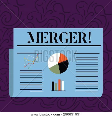 Text sign showing Merger. Conceptual photo Combination of two things or companies Fusion Coalition Unification Colorful Layout Design Plan of Text Line, Bar, Linear and Pie Chart Diagram. poster
