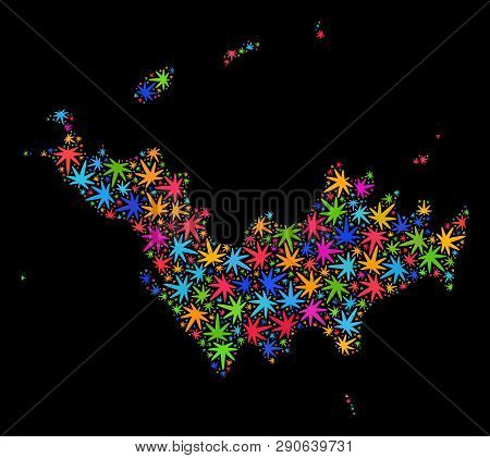 Bright Vector Marijuana Saint Barthelemy Map Collage On A Black Background. Concept With Bright Herb