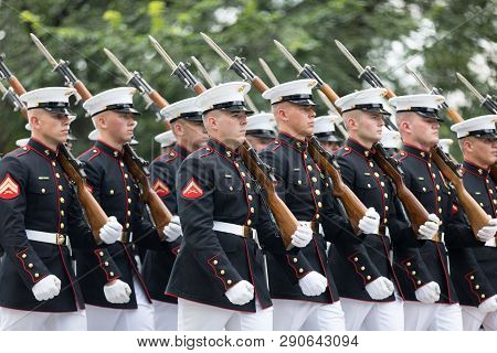Washington, D.c., Usa - July 4, 2018, Members Of The Us Marine Corps With Rifles Marching At The Nat