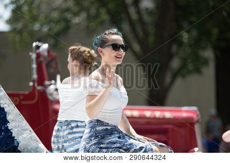 Washington, D.c., Usa - July 4, 2018, The National Independence Day Parade, Young Women Wearing Retr