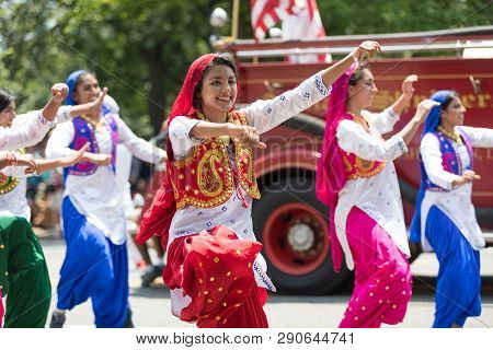 Washington, D.c., Usa - July 4, 2018, The National Independence Day Parade, Indian Women, Dancers, W