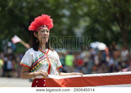 Washington, D.c., Usa - July 4, 2018, The National Independence Day Parade, Taiwanese Woman Wearing