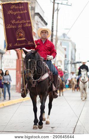 Matamoros, Tamaulipas, Mexico - November 20, 2018: The November 20 Parade, Men Wearing Traditional M