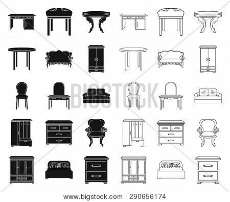 Furniture And Interior Black, Outline Icons In Set Collection For Design.home Furniture Vector Symbo