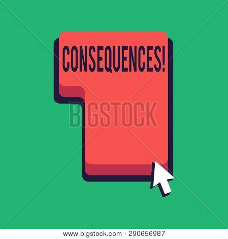 Word writing text Consequences. Business concept for Result Outcome Output Upshot Difficulty Ramification Conclusion Direction to Press or Click the Red Keyboard Command Key with Arrow Cursor. poster