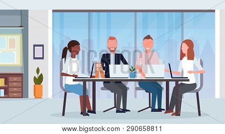 Businesspeople Group Meeting Conference Mix Race Coworkers Using Laptop Sitting At Round Table Moder