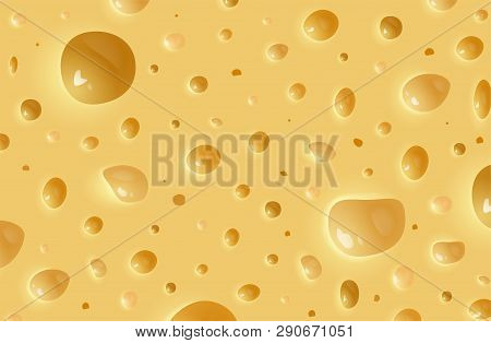 Vector Realistic Cheese Background. Texture Of Cheese