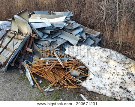Nstruction Waste That Remained After Roof Overlap, Tin, Wood And Plastic, Free Space For Text.