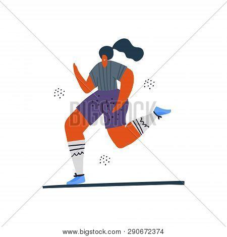 Woman Jogging, Running Hand Drawn Illustration. Runner Girl In Sportswear Cartoon Character. Female
