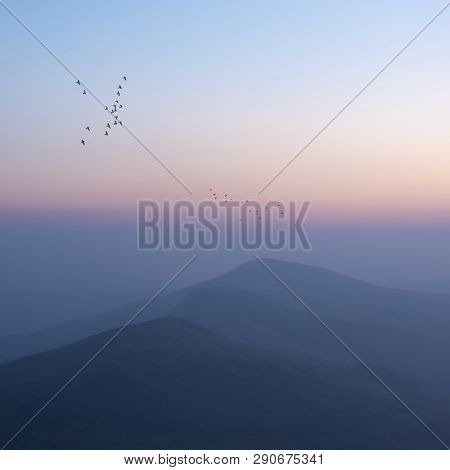 Beautiful Winter Sunrise Landscape Image Of The Great Ridge In The Peak District In England With  Bi