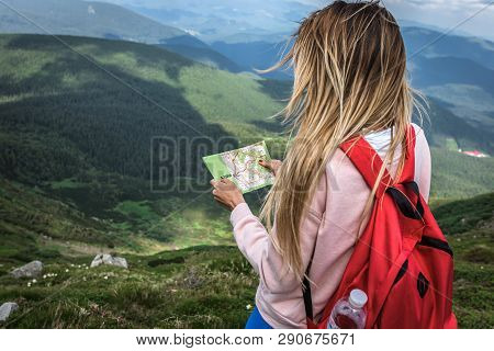 Woman Tripper With A Red Backpack, Voyager, Holidaymaker Lost In The Mountain Expeditions, School Ca