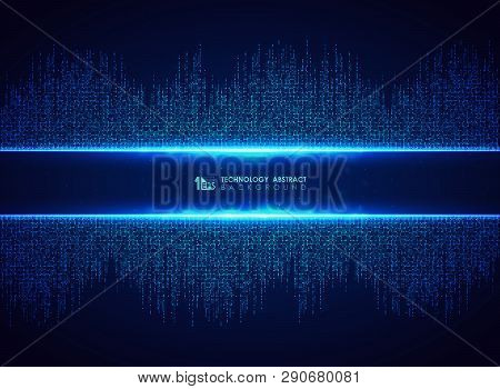 Abstract Blue Technology Of Square Connection Pattern Background. You Can Use For Futuristic Graphic