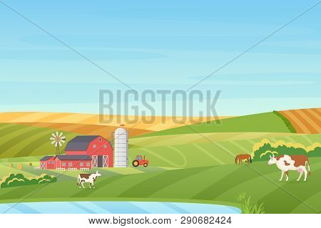 Summer Warm Weather Farm Coutryside Landscape With Eco Cottage, Barn, Windmill, Tractor, Silage Towe