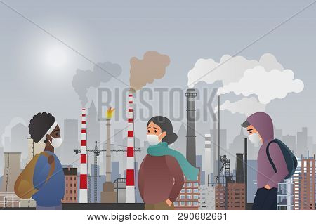 Young Sad Male And Female People Wear Protecting Masks Suffering From Manufacture Pipes Air Pollutin