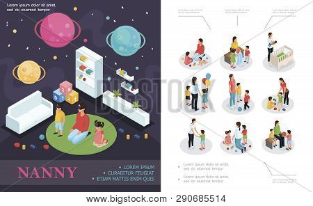 Isometric Nanny Work Concept With Babysitter Playing With Kids In Child Room Nanny And Children In D
