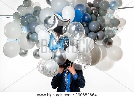 Handsome Happy Man With Big Bunch Of Balloons. Bearded Man With Balloons At Birthday Party. Stylish