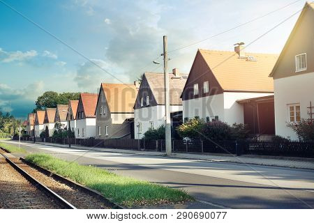 Modern Tipical Terraced White Houses In Dresden, Germany