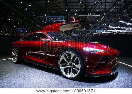 Geneva, Switzerland - March 11, 2019: Electric Gt Concept Car Italdesign Davinci Presented At The An