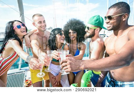 Multiracial Friends Having Fun Drinking Champagne Wine At Sail Boat Party - Friendship Concept With