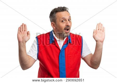 Supermarket Or Hypermarket Male Employee Making Innocent Gesture With Palms And Shocked Expression A