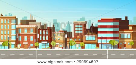 Modern Town Street Panoramic Flat Vector. Low-rise Houses With Brick Walls, Blank Signboards On Stor