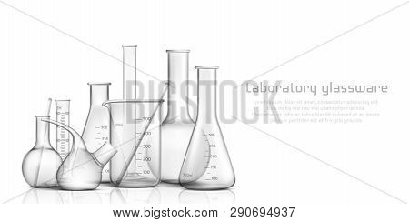 Chemical, Biological Science Laboratory Glassware Collection 3d Realistic Vector Banner, Poster. Emp