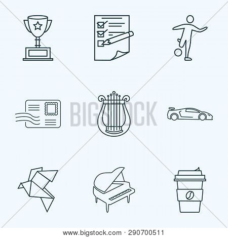 Hobby Icons Line Style Set With Origami, Harp, Planning And Other Decaf Elements. Isolated Vector Il