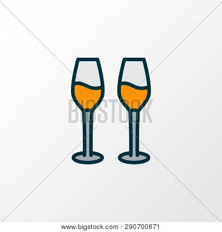 Wine Glasses Icon Colored Line Symbol. Premium Quality Isolated Cabernet Element In Trendy Style.