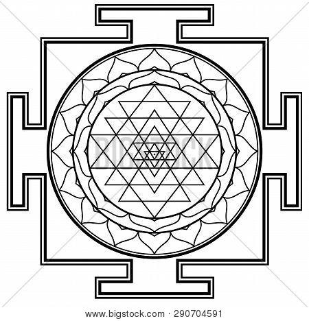 Black White Mandala Sri Yantra Chakra Tantra Spirituality Esoteric Zen Illustration