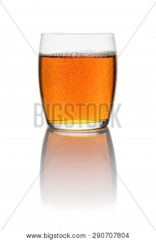 A Glass With Iced Tea On A White Background