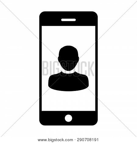 Phone User Icon Vector Male Person Profile Avatar With Mobile Symbol For Communication In Glyph Pict