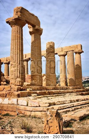 Agrigento, Italy. Valle Dei Templi, Unesco World Heritage Site. Greek Temple Ruins - Remains Of The