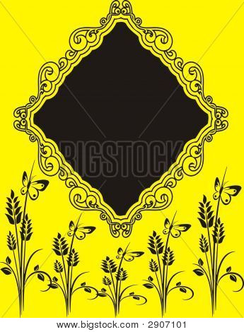Beautiful Black Frame On Yellow Background