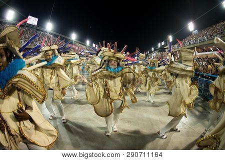Rio, Brazil - March 02, 2019: Estacio De Sa During The Carnival Samba School Carnival Rj