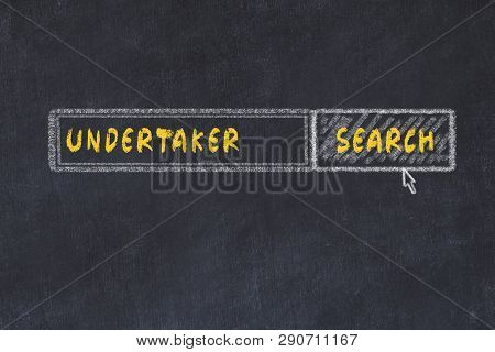 Chalk Board Sketch Of Search Engine. Concept Of Searching For Undertaker