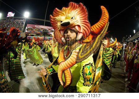 Rio, Brazil - March 02, 2019: Estacio De Sa During The Carnival Samba School Carnival Rj.