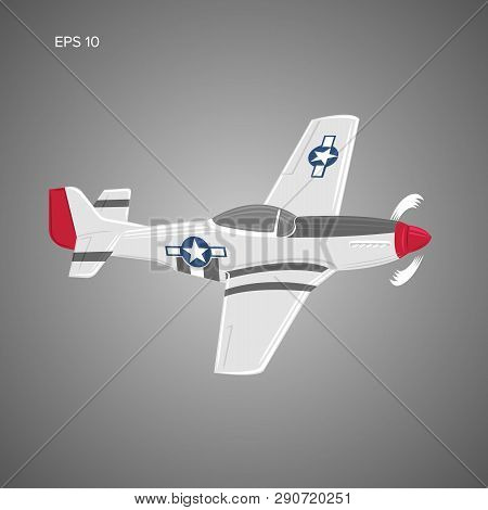Legendary WWII american fighter aircraft. Single piston engine war machine vector illustration poster