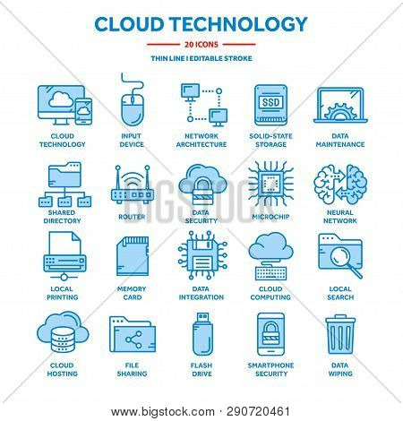 Cloud Computing. Internet Technology. Online Services. Data, Information Security. Connection. Thin