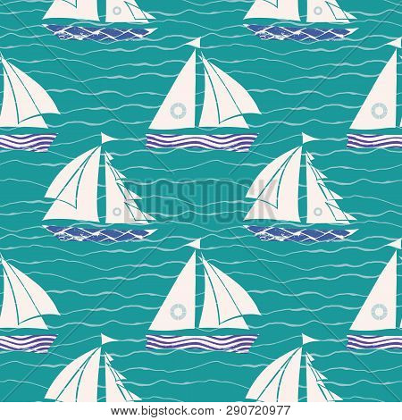 Hand Drawn White And Blue Textured Sail Boats On Striped Doodle Wave Turquoise Background. Seamless